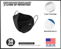 [50 PACK] Black KN95 5 Layer Protective Face Mask BFE 95% Disposable Respirator