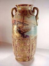 "Japanese Nippon 2-Handled Vase Hand Painted Moriage Raised Gold 12"" Ship Birds"