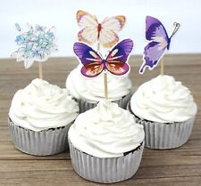 24 pcs Cupcake Cup Cake Decorating,Toppers PARTY DECORATION ,Butterfly flowers