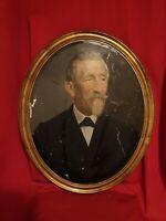 Portrait d'homme, huile sur carton XIX ème s