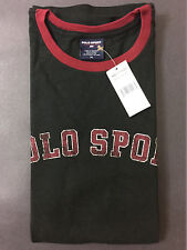 NEW OLD STOCK VINTAGE RALPH LAUREN POLO SPORT SPELLOUT TSHIRT BLACK XL RINGER L