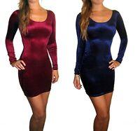 Peaches&Cream Velvet Long Sleeve Party Evening Bodycon Mini Dress 8 10 12 14 18