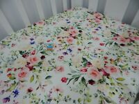 Floral Cot Sheet Fitted Roses Eloise 100% Cotton Fits up to 70 x 130cm Mattress