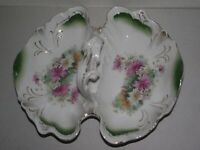 "Antique 12"" Carl Tielsch CT Germany divided serving dish bowl green pink floral"