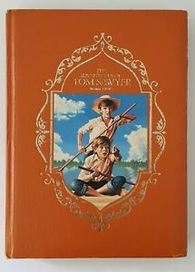 Vintage THE ADVENTURES OF TOM SAWYER MARK TWAIN Harbcover Gold Pages Book 1985