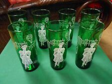 "Great Collectible Forest Green Water Glasses-""RIDING ON THE MALL"" Set of 7"