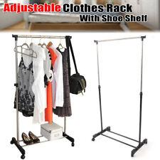 Adjustable Rolling Clothes Rack Hanging Garment Stand Bar Hanger w/Shoe Shelf