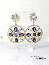 Costume Earring Studs Gold Art Deco Circle Clover Purple Fine Marriage Retro A11
