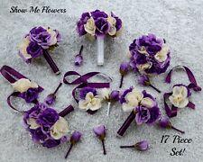 17 PC Royal Purple Lavender Cream Ivory Wedding Bouquet Set Bride Groom Roses
