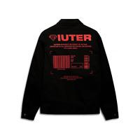 IUTER giacca uomo  INFO REDFORD Screen Printed Collar Zip Jacket BLACK