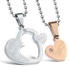 CADENA Compañeros Corazón Love Puzzle ACERO inox. 2 COLGANTE PAREJA COLOR ORO 2