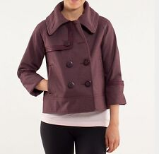 LULULEMON COCO SOFTSHELL BORDEAUX DRAMA SIZE 6, CROPPED PEACOAT