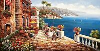Mediterranean Cafe Terrace,  #2, 24x48  100% Hand Painted Oil Painting on Canvas