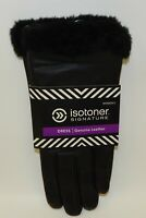 Isotoner Signature Women's Leather Dress Gloves Black L Size 8 NWT