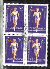 #1029 BRASIL BRAZIL1974 SPORT MARATON ST VILVESTRE BLOCx4 YV 1133 SPEC FIRSTDAY