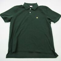Brooks Brothers Mens Polo Shirt Green Short Sleeve Solid Logo Collared Medium