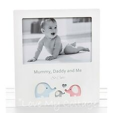 Mummy Daddy & Me Family Portrait Picture photo frame Little Elephant Baby Gift