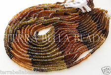 """13"""" AAA PETROL TOURMALINE faceted gem stone rondelle beads 3.5mm gold green"""