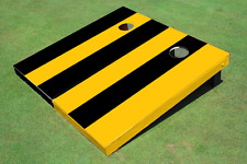 Yellow And Black Alternating Long Stripe No Stripe Custom Cornhole Board