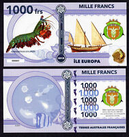 RARE ★ ILE EUROPA ● TAAF / COLONIE ● BILLET POLYMER 1000 FRANCS ★ N.SERIE 000005