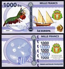 RARE ★ ILE EUROPA ● TAAF / COLONIE ● BILLET POLYMER 1000 FRANCS ★ N.SERIE 000005