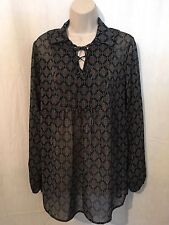Mossimo Blouse Top Sz M Sheer Black Blue Print Polyester New 160741
