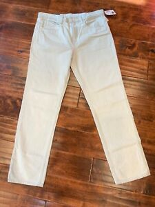 """Helmut Lang """"Relaxed Tapered"""" Distressed Dirty White Denim Jeans, Size 30 NWT!"""