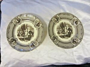 Two's Twos Company Brown Transferware Ladies in a Palace Floral Wall (2) Plates