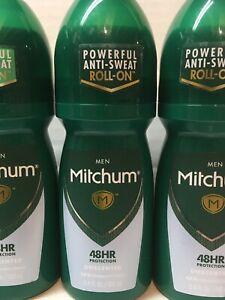 (4) x Mitchum Men Roll-On Antiperspirant & Deodorant, Unscented, 3.4 oz Each