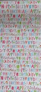 """10mtrs of """"Happy Birthday"""" quality wrapping paper (5m x 50cm x 2 rolls)"""