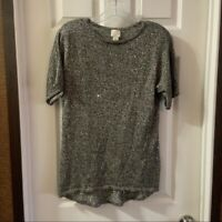 Chico's Collection Women's Tan Sparkly Scoop Neck Short Sleeve Blouse size 0 (S)
