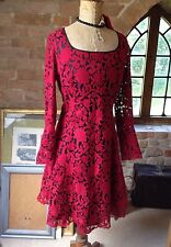 BNWT Next Vintage 50s Style Red Flock Lace Party Wedding Dress Goth Steampunk 8