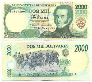 VENEZUELA NOTE 2000 BOLIVARES 6.8.1998 P 77c AXF
