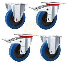 "Flight Case Castors: 100mm/4"" Blue Wheels, Caster Free Postage"