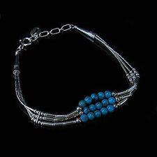 Sterling Silver REAL Turquoise Triple Strand Bracelet