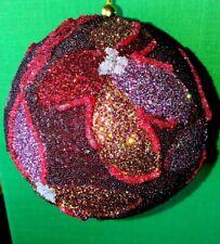 """Glamour Designer Jim Marvin Glitter Beaded Flower 4"""" Ball Christmas Ornament New"""