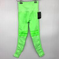 NUX Active Leggings S High Waistband Lattice Mesh Stripe Lime Green Womens NWT