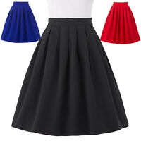 PLUS SIZE Women's High Waisted Short Casual Skirt Pleated Full Circle Prom Dress