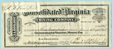 1877 CONSOLIDATED VIRGINIA MINING COMPANY Stock Certificate COMSTOCK LODE NV
