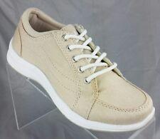 Ryka Women's sz 5 Freelance Canvas Tie Ltt Lo Walking Shoe Khaki Tan Ortholite