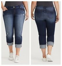 Torrid Jeans 14 Medium Wash BOYFRIEND Crop Pacific Distressed Fray 11180434