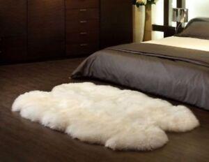Genuine Australian Sheepskin Rug Four Pelt Light Beige Fur