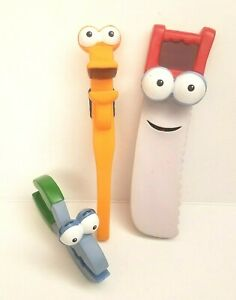 Disney Handy Manny Tool Box Set of 3 Large Rubber Tools Dusty Squeeze Rusty