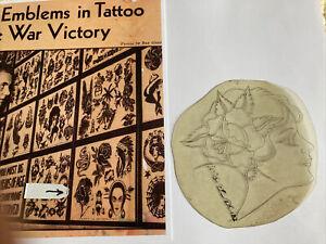 "1930's ""Rose's Profile"" Tattoo Acetate Stencil & Copy of Photo By Owen Jensen"