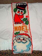 Vintage Mid Century Yarn Crochet Handywork Christmas Holiday Runner Tapestry Rug