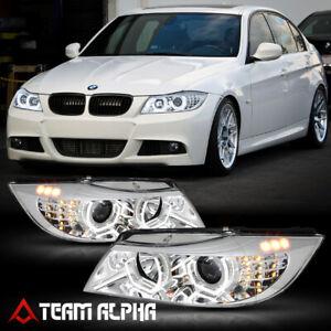 Fits 2006-2008 BMW E90{DUAL HALO/LED SIGNAL}Chrome/Gray Trim Projector Headlight