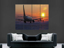 AEROPLANE AIRPORT JET RUNWAY SUNSET ART WALL POSTER PICTURE PRINT LARGE  HUGE !!