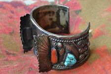 NAVAJO SIGNED J. TOADLENA  STERLING SILVER CORAL TURQUOISE  CUFF WATCH BRACELET