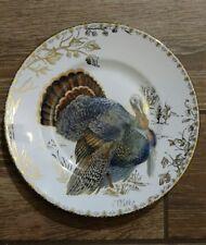 222 Fifth Golden Hill Gold Toile Turkey Thanksgiving Medium Dinner Plate NEW