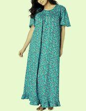 Dreams & Co. Plus Size Deep Teal Floral Long Cotton Knit Nightgown Sz 5X(38/40)